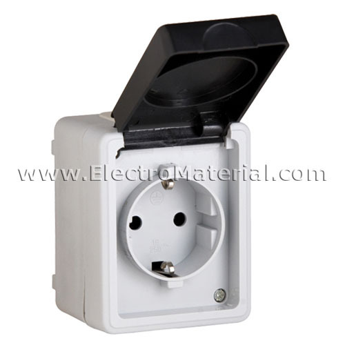 Enchufe de superficie estanco ip54 con ttl 16a electromaterial - Enchufe exterior estanco ...