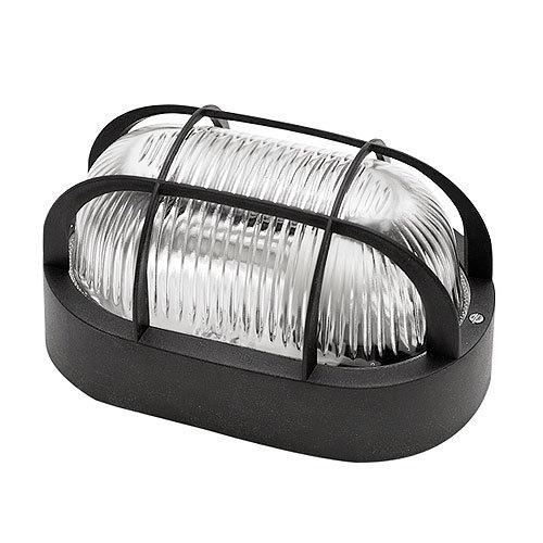 Aplique hublot exterior ip44 ovalado con rejilla negro for Precios iluminacion exterior