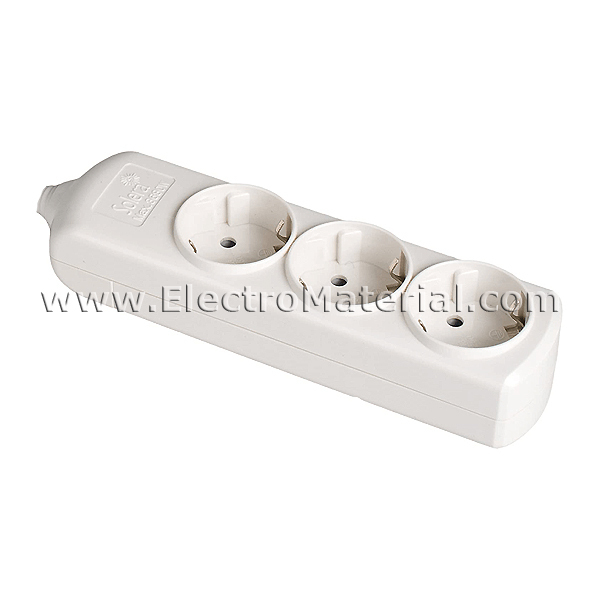 Base de superficie sin cable de 3 enchufes electromaterial - Enchufes de superficie ...