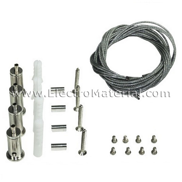 4 wire suspension kit for led panel display electromaterial for Kit suspension luminaire