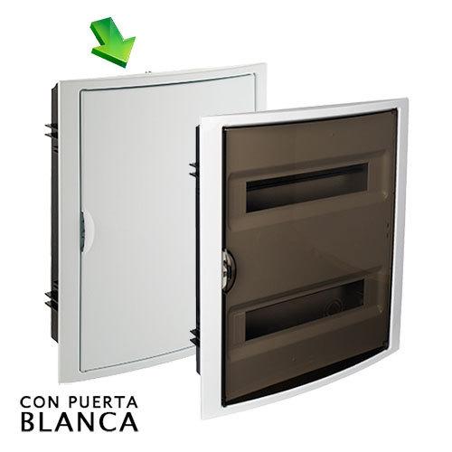 Cuadro el ctrico de empotrar de 28 elementos con puerta blanca for Cuadro electrico componentes