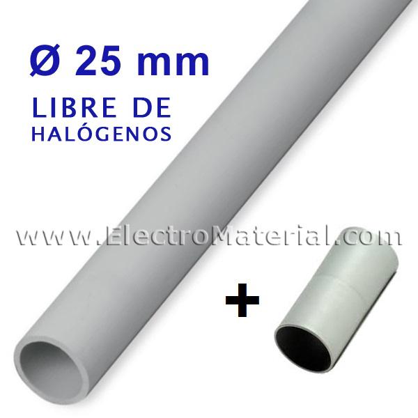 Tubo rigido gris de pvc libre de hal genos de 25 mm con - Tubo pvc electrico ...