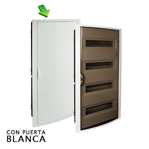 Cuadro el ctrico de empotrar de 56 elementos con puerta blanca for Cuadro electrico componentes