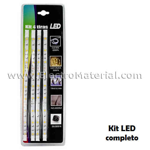 Kit de 4 tiras LED SMD5050 de 30 cm IP20 Luz cálida