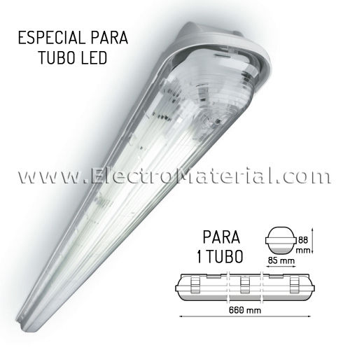 Pantalla estanca IP65 para 1 tubo LED de 60 cm