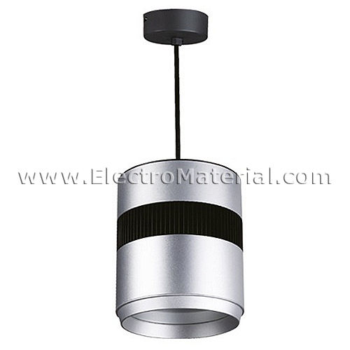 Pendant Lamp in Satin Nickel and Black 10W LED Daylight 4200K
