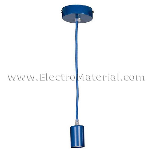 Pendant lamp holder in Blue with E27 cap
