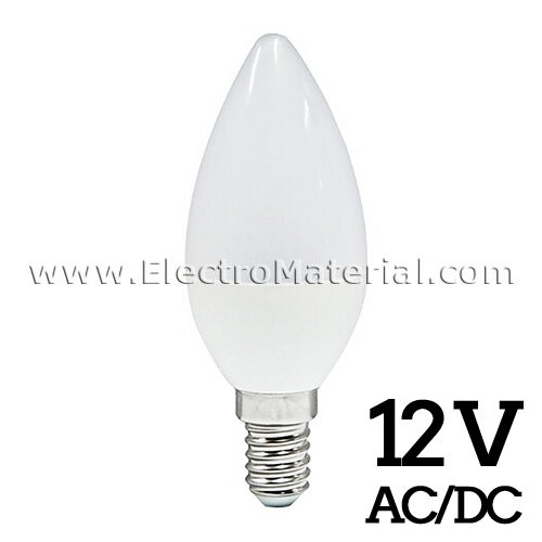 LED Candle E-14 5W to 12V AC / DC Cold light